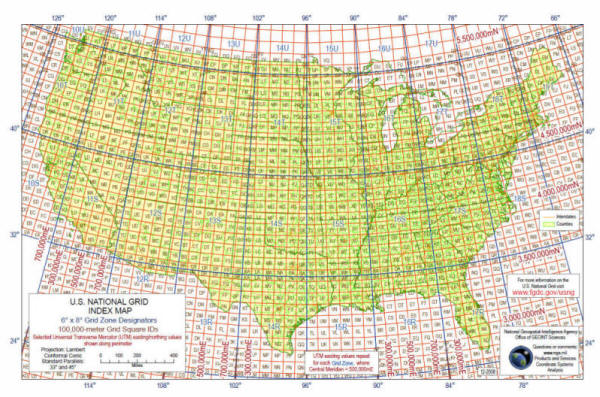United States National Grid - Us national grid index map